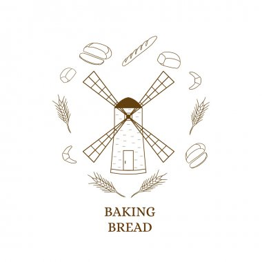 Windmill building. Bakery products. Linear style. Contour and sh