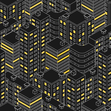 Isometric building at night.  Linear style. The outlines of sky