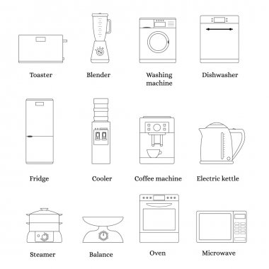 Household kitchen appliances. Set of linear icons. The black str