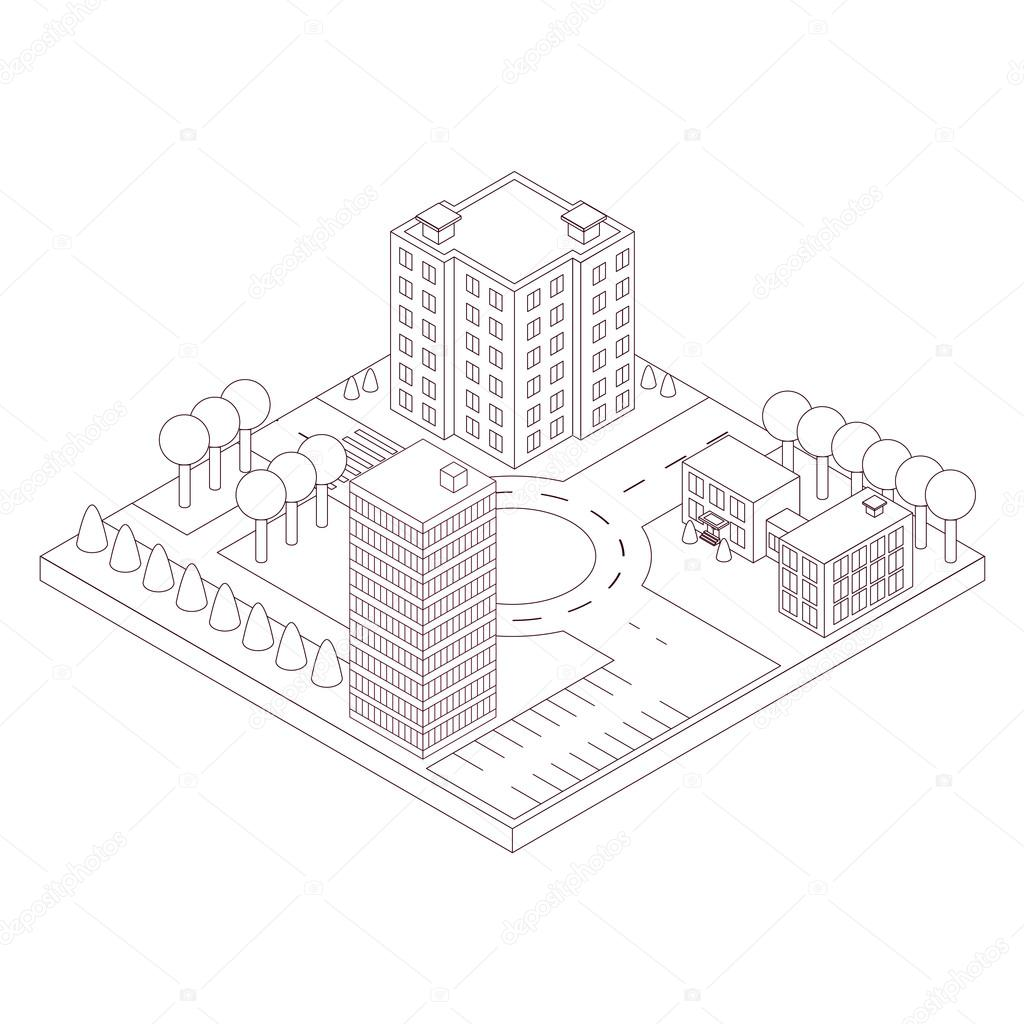 Isometric map of the area  Linear style  High-rise building