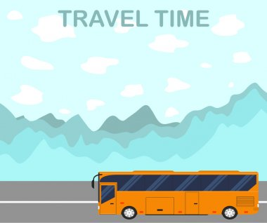 The time to travel. Flat style. The tourist bus.