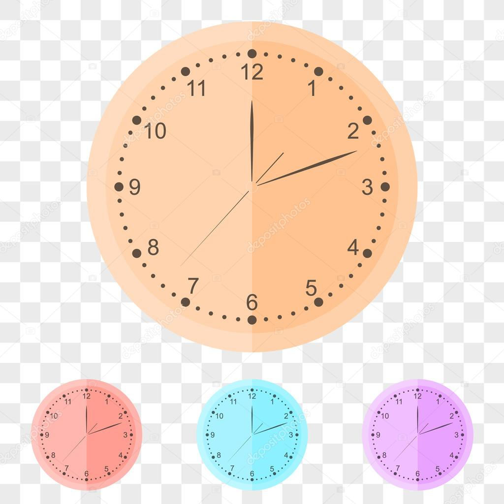 Round wall clock in flat style. — Stock Vector © Poganka06 #105102994