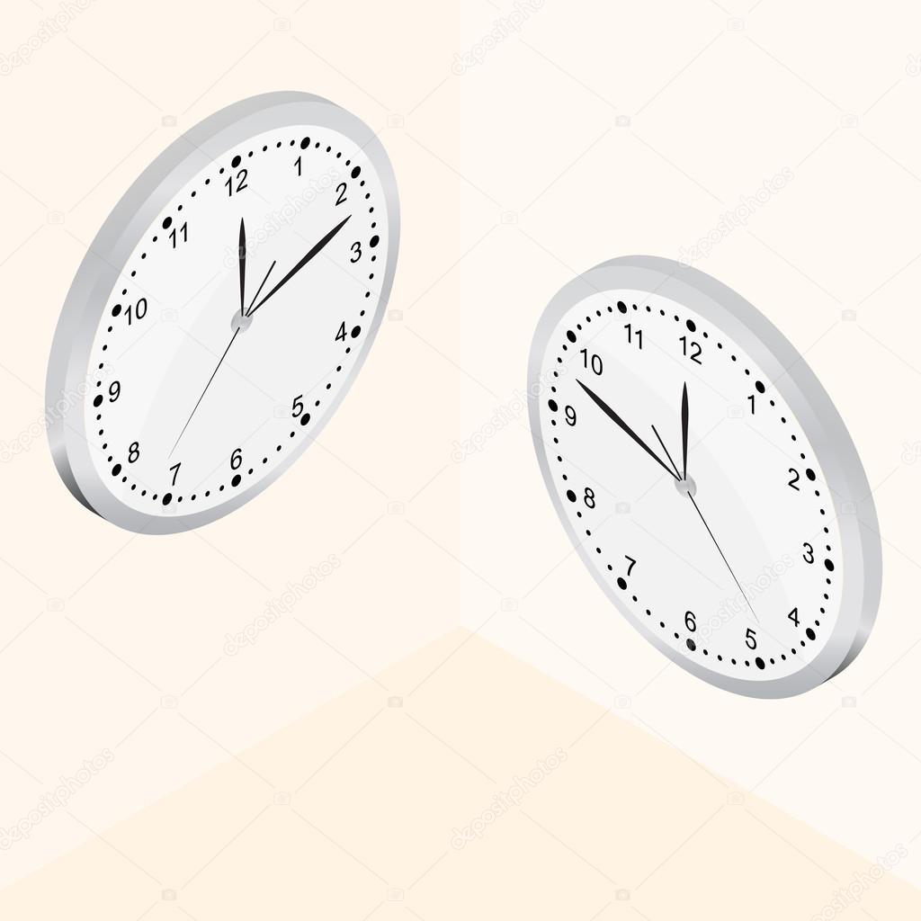 46e0527669e Relógio de parede isométrico. O mostrador luminoso. 24 horas por dia —  Vetores de