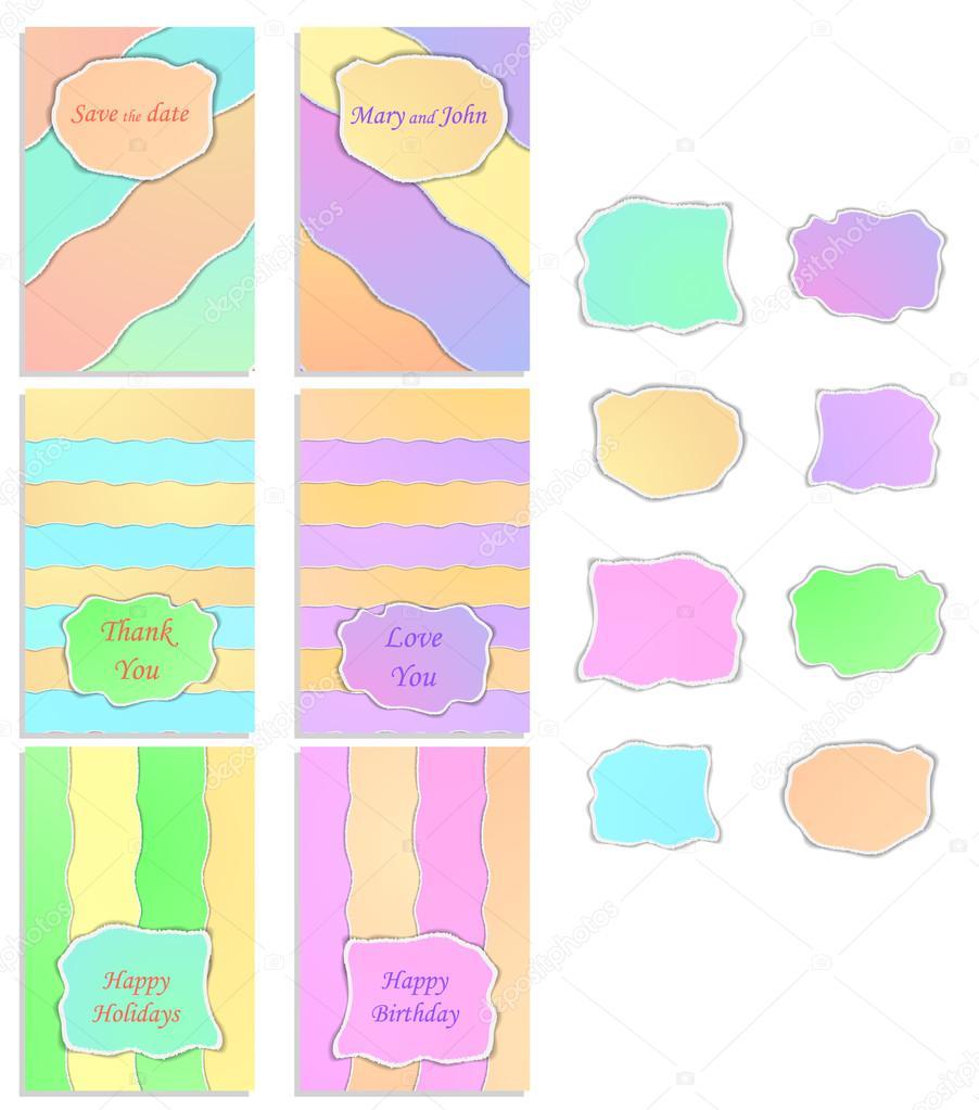 Un conjunto de seis plantillas con etiquetas. Colores pastel ...