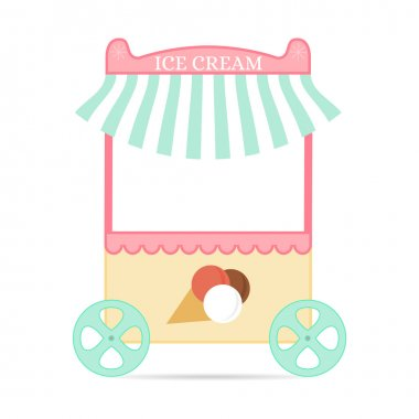 Ice cream tent. Flat style. Mobile kiosk with dessert.