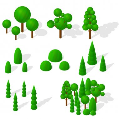 Isometric trees, firs and shrubs. The green vegetation.