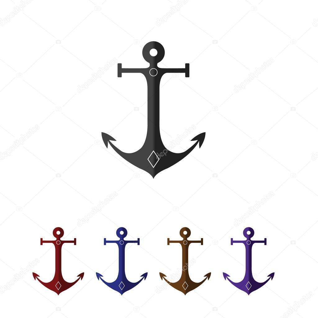 Set of anchors  Flat style  Black, red, blue, and brown