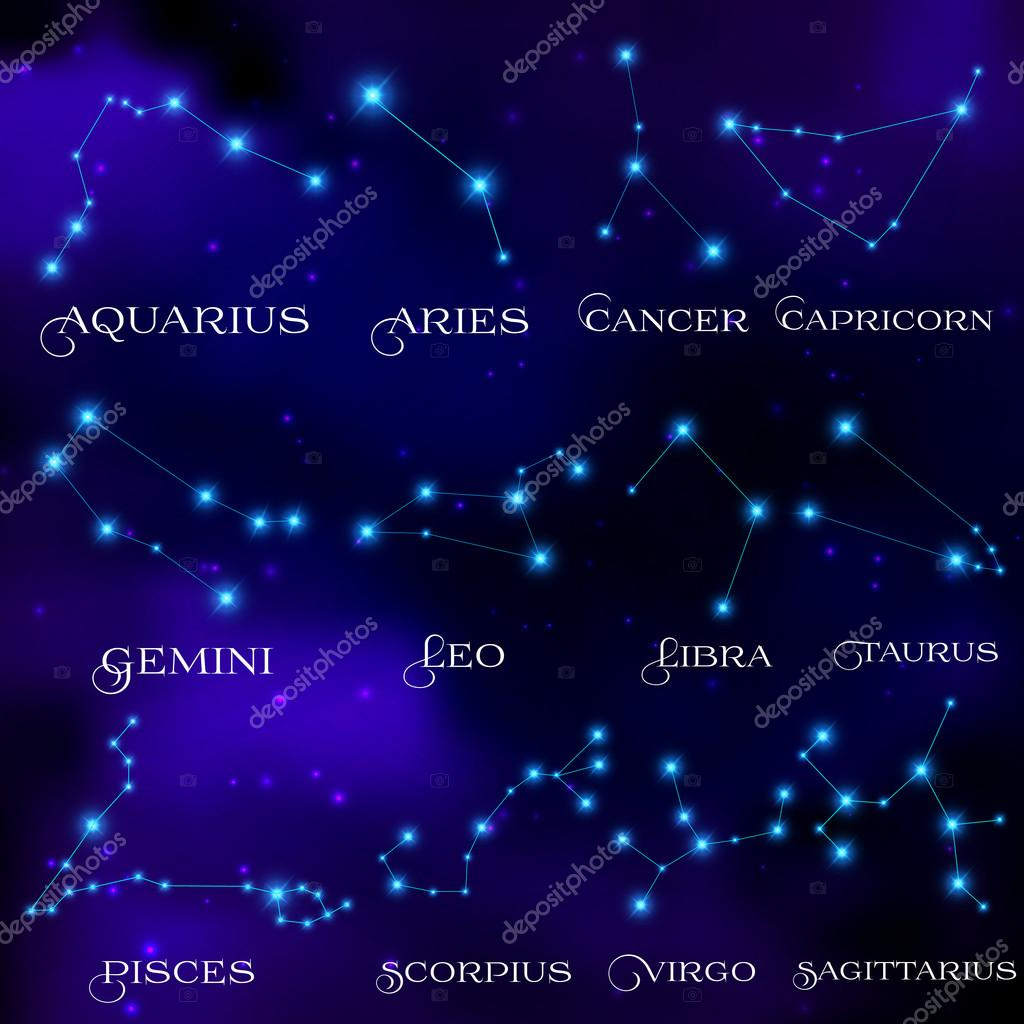 The set of twelve constellations. Constellations of the zodiacal