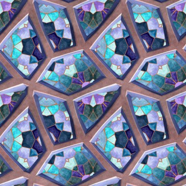 Abstract seamless mosaic pattern of polygonal beveled stones