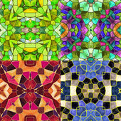 Abstract kaleidoscopic background of stained glass mosaic for four seasons