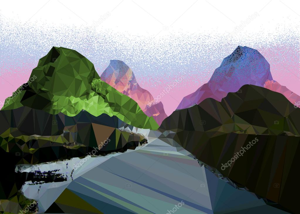 Misty mountain landscape of polygons with a road