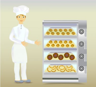 Baker in white dress with a modern electric oven and bread