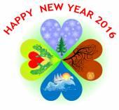 Novoroční přání ve tvaru srdce cloverleaf se čtyřmi obdobími