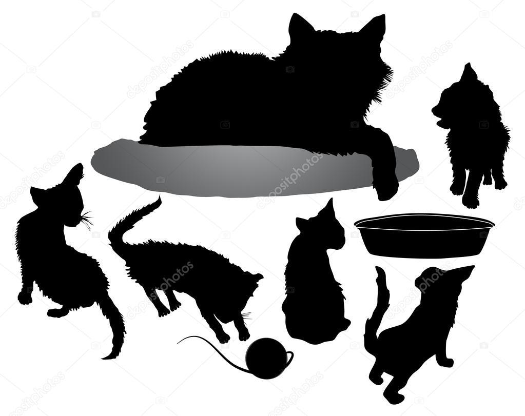 Vector Gato Acostado Siluetas De Gato Negro Con Cinco Gatitos