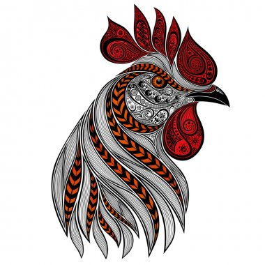 Abstract vector rooster with red crest