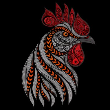 Vector fiery rooster on a black background