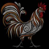 Photo Vintage rooster vector by New year 2017 on black background
