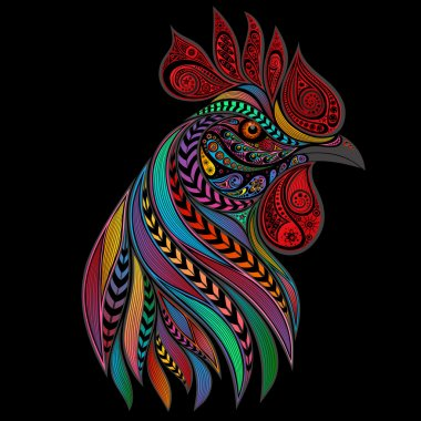 Abstract vector cock of the patterns for the New year 2017