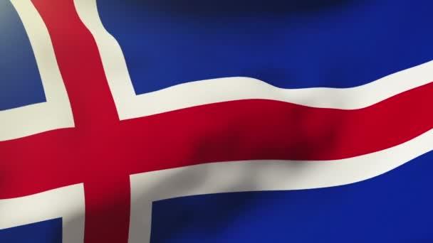 Izland zászlaja integetett a szél. Hurkolás a nap emelkedik a stílus. Élénkség hurok