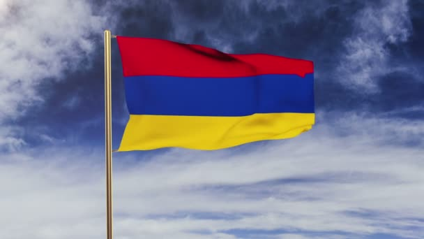 Armenia flag waving in the wind. Looping sun rises style.  Animation loop