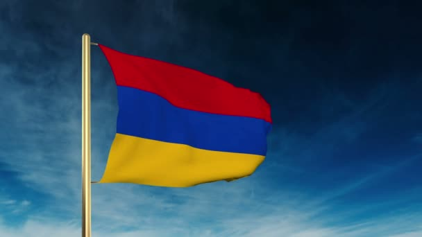 Armenia flag slider style. Waving in the win with cloud background animation