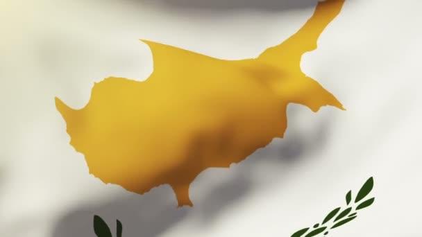 Kyperská vlajka mávání ve větru. Opakování slunce stoupá stylu. Animace smyčka