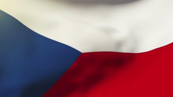 Česká republika vlajka mávání ve větru. Opakování slunce stoupá stylu. Animace smyčka