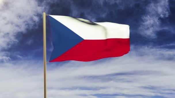 Česká republika vlajka mávání ve větru. Opakování slunce stoupá stylu. Animace smyčka. Zelená obrazovka, alfa matný. Loopable animace