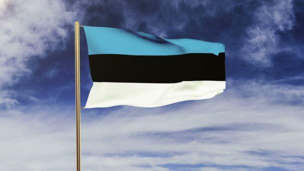 Észtország zászló integetett a szél. Looping v. emelkedik stílus. Animáció hurok. Zöld képernyő, alfa Matt. A végteleníthető animáció