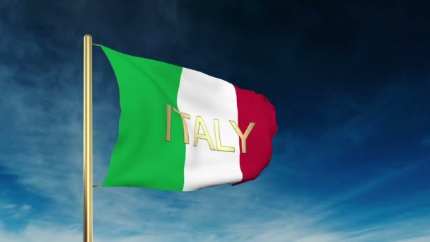 Italy flag slider style with title. Waving in the wind with cloud background animation