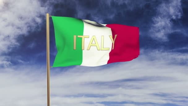 Italy flag with title waving in the wind. Looping sun rises style.  Animation loop