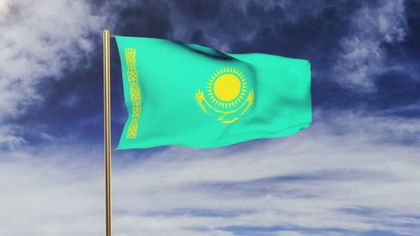 Kazakhstan flag waving in the wind. Looping sun rises style.  Animation loop. Green screen, alpha matte. Loopable animation