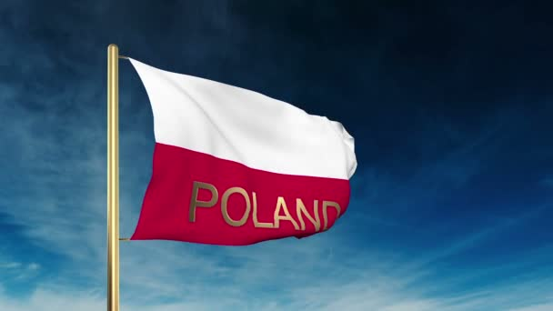 Poland flag slider style with title. Waving in the wind with cloud background animation