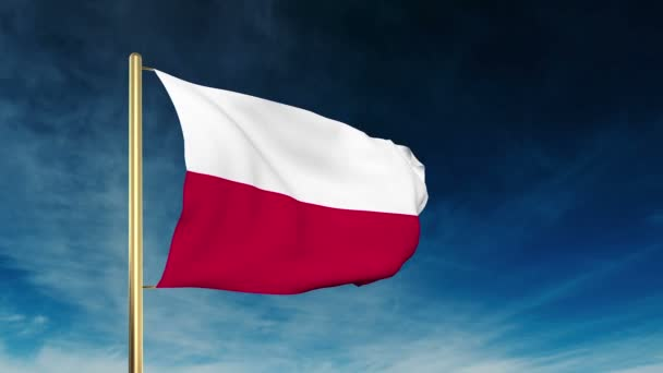 Poland flag slider style. Waving in the wind with cloud background animation