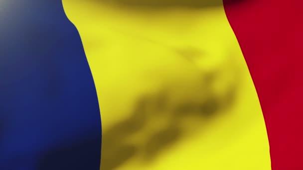 Románia zászlaja integetett a szél. Hurkolás a nap emelkedik a stílus. Élénkség hurok