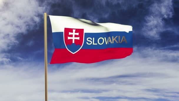 Slovakia flag with title waving in the wind. Looping sun rises style.  Animation loop