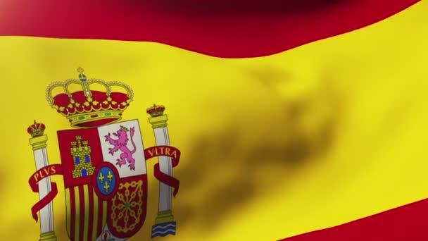 Spanyolország lobogója hullámzó a szél. Hurkolás a nap emelkedik a stílus. Élénkség hurok