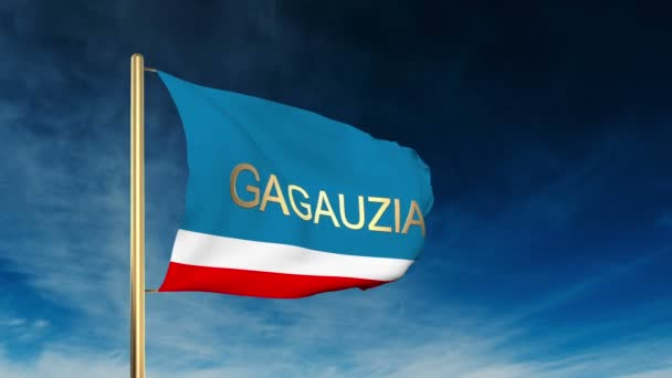Gagauzia flag slider style with title. Waving in the wind with cloud background animation