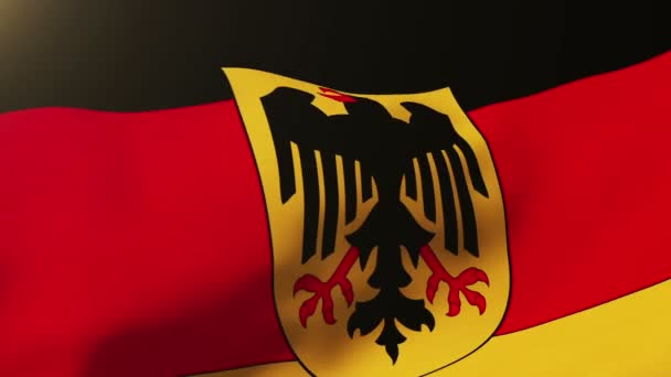 Germany With Eagle flag waving in the wind. Looping sun rises style.  Animation loop