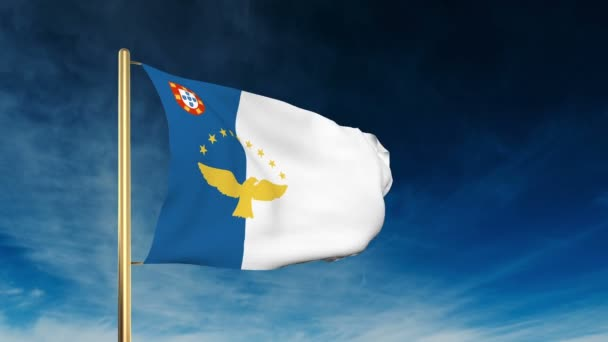 Azores flag slider style. Waving in the win with cloud background animation