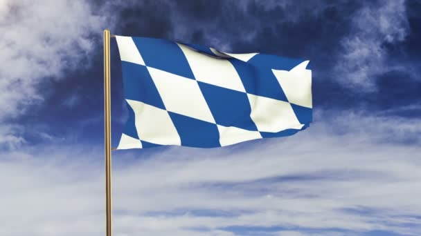 Bavaria flag waving in the wind. Green screen, alpha matte. Loopable animation