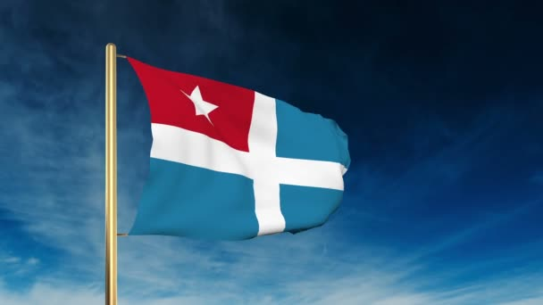 Cretan State flag slider style. Waving in the win with cloud background animation