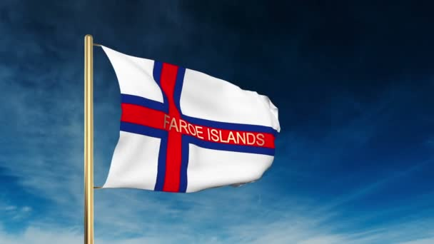 Faroe Islands flag slider style with title. Waving in the wind with cloud background animation