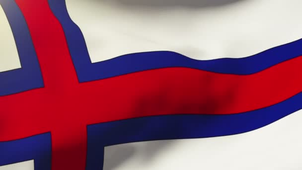 Faroe Islands flag waving in the wind. Looping sun rises style.  Animation loop
