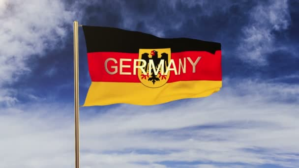 Germany With Eagle flag with title waving in the wind. Looping sun rises style.  Animation loop