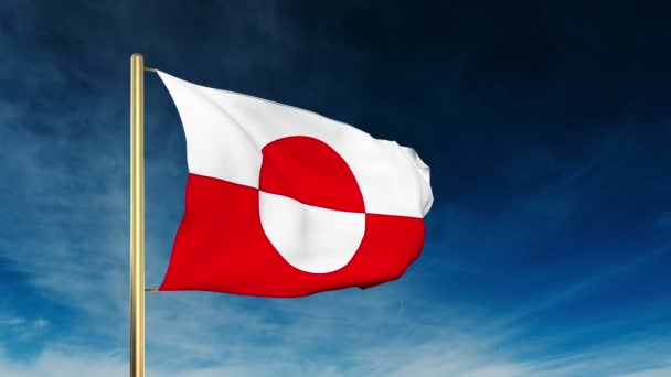 Greenland flag slider style. Waving in the win with cloud background animation