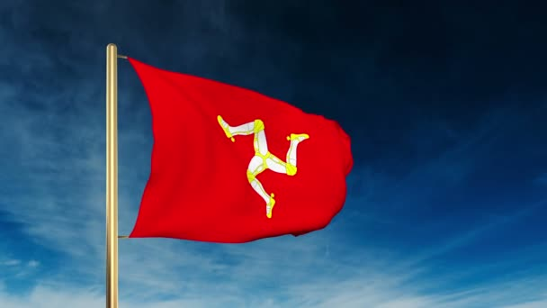 isle of man flag slider style waving in the win with cloud
