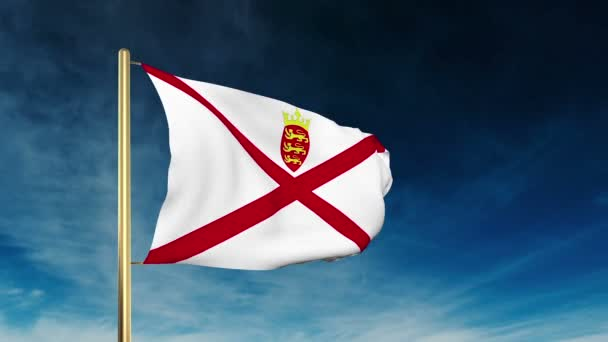 Jersey flag slider style. Waving in the win with cloud background animation