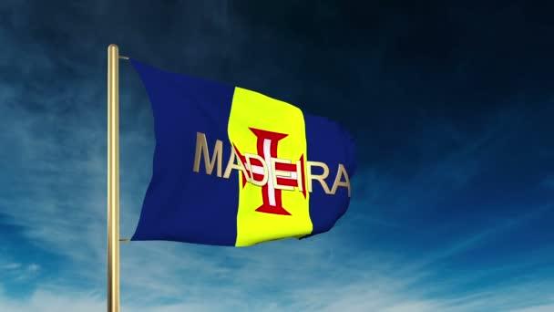 A Madeira zászlója a zászló stílus. Integetett a szél felhős háttér animáció