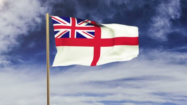 Royal Navy flag waving in the wind. Green screen, alpha matte. Loopable animation